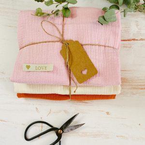 Materialset Kuschel Musselin Tuch naehzimmer mit herz onlineshop